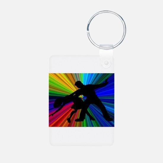 Dazzling Dance Silhouettes Aluminum Photo Keychain