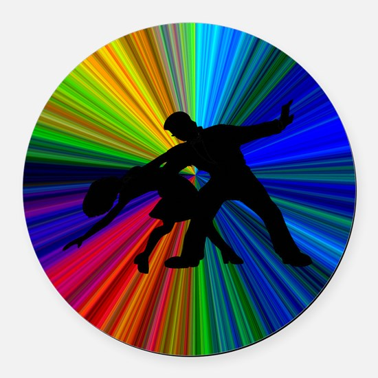 Dazzling Dance Silhouettes Round Car Magnet