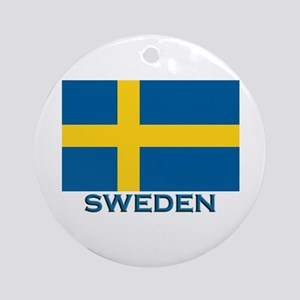 Sweden Flag Gear Ornament (Round)