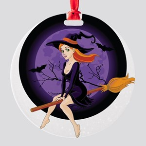 Red Headed Witch Round Ornament