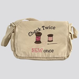 Check Twice Sew Once Messenger Bag