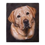 Yellow Labrador Retriever Painting Throw Blanket