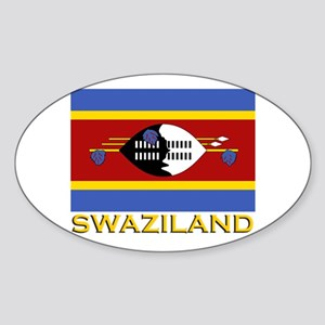 Swaziland Flag Gear Oval Sticker