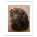 Chocolate Lab Portrait Painting Small Poster