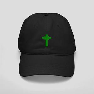 Green Celtic Cross Small Black Cap