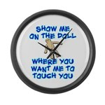Show Me On The Doll Large Wall Clock
