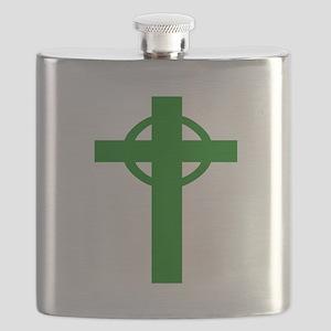 Green Celtic Cross Flask