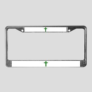Green Celtic Cross License Plate Frame