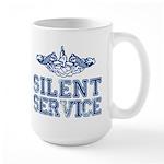 Silent Service with Submarine Dolphins Large Mug