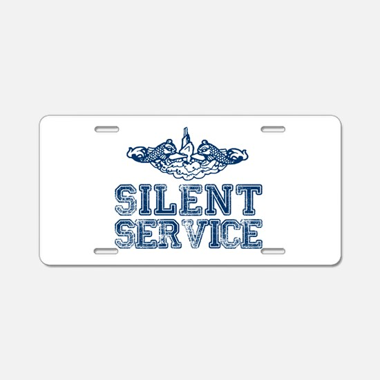 Silent Service (with Dolphins) Aluminum License Pl