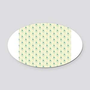 Ivory Peacock Feather Print Oval Car Magnet