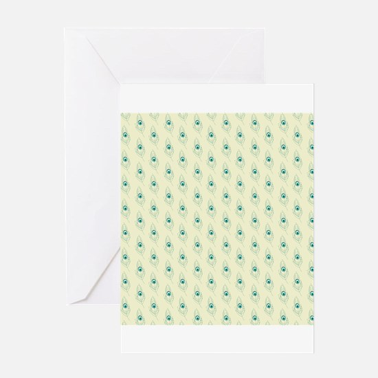 Ivory Peacock Feather Print Greeting Card