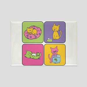 Kitten Squares Rectangle Magnet