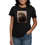 Chocolate Lab Boy Painting Women's Dark T-Shirt