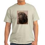 Chocolate Lab Portrait Painting Light T-Shirt
