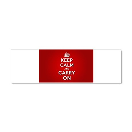 Red Keep Calm And Carry On Car Magnet 10 x 3