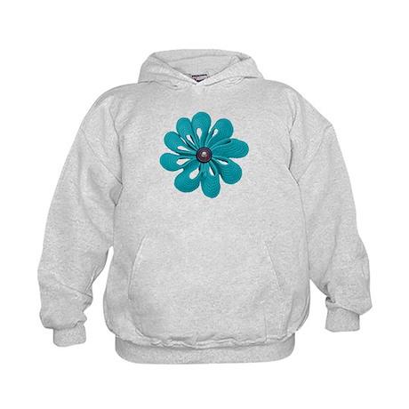 Aqua Ribbon Crochet Flower Kids Hoodie