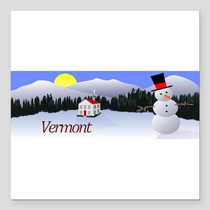 "Winter Wonderland - Vermont Square Car Magnet 3"" x"