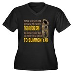 Summon Yak Women's Plus Size V-Neck Dark T-Shirt