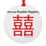 Twins are Double Happiness Round Ornament