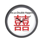 Twins are Double Happiness Wall Clock