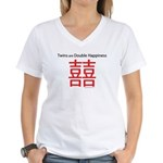 Twins are Double Happiness Women's V-Neck T-Shirt