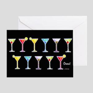 Black Martinis Greeting Card