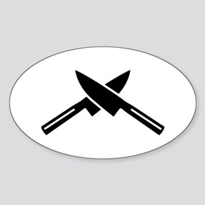 Crossed knives Sticker (Oval)