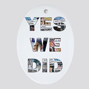 Obama Victory Collage Oval Ornament