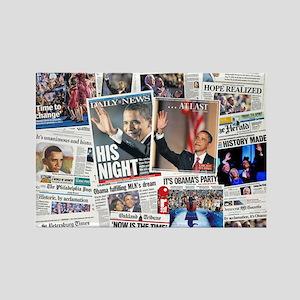 Obama Nominated: Newspaper Rectangle Magnet