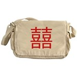 Red Double Happiness Messenger Bag