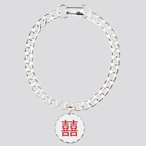 Red Double Happiness Charm Bracelet, One Charm