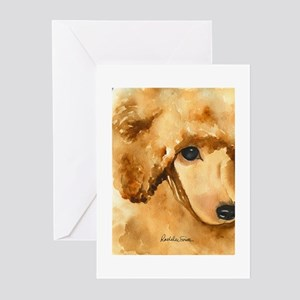 Poodle Red Greeting Cards
