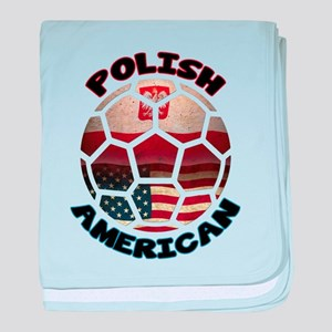 Polish American Soccer Football baby blanket