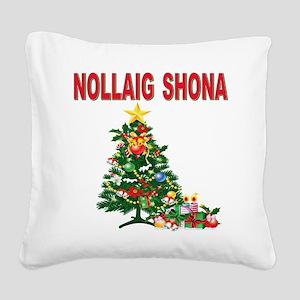 Irish Christmas(blk) Square Canvas Pillow
