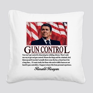 ronald reagan guncontrol Square Canvas Pillow