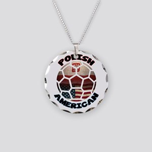 Polish American Soccer Football Necklace Circle Ch