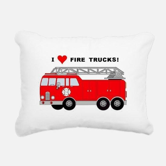 I Heart Fire Trucks! Rectangular Canvas Pillow