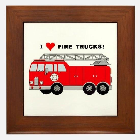 I Heart Fire Trucks! Framed Tile