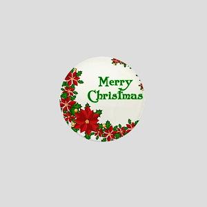 Merry Christmas Poinsettias Mini Button