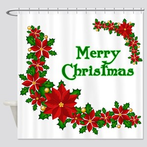 Merry Christmas Poinsettias Shower Curtain