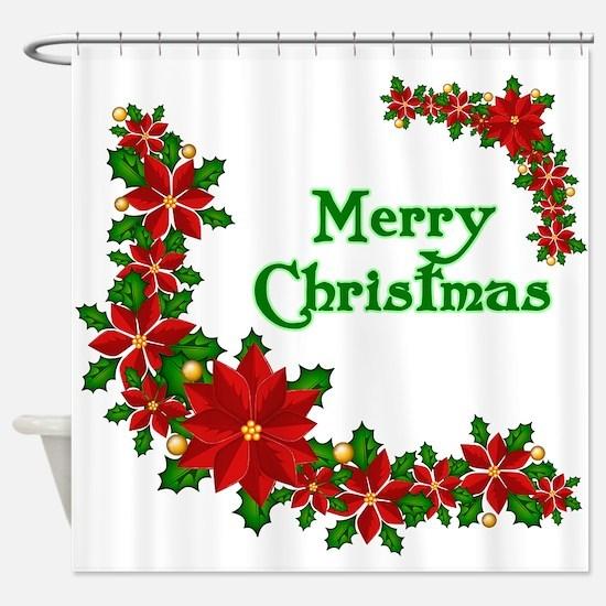 Merry Christmas Poinsettias Shower Curtain