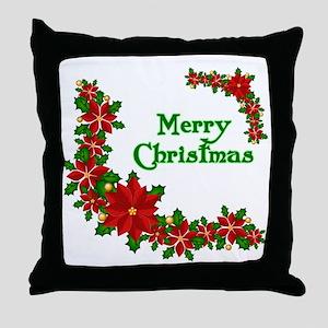 Merry Christmas Poinsettias Throw Pillow