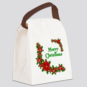 Merry Christmas Poinsettias Canvas Lunch Bag