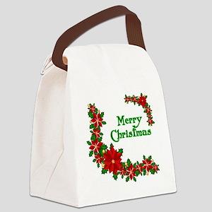 Merry Christmas Poinsettias Canvas Lunch Bag