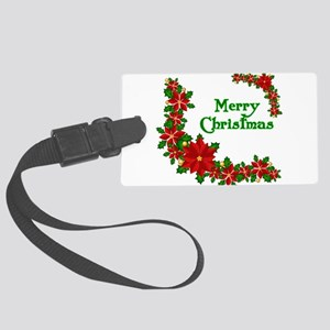 Merry Christmas Poinsettias Large Luggage Tag