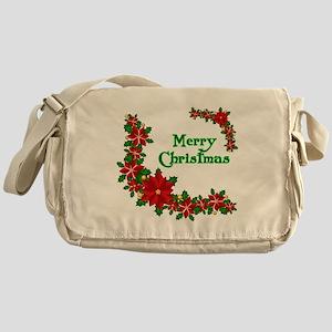 Merry Christmas Poinsettias Messenger Bag