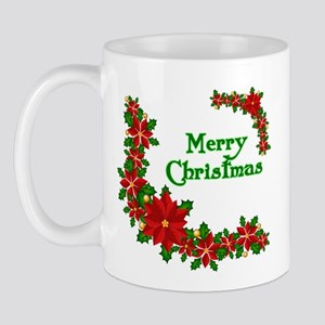 Merry Christmas Poinsettias Mug
