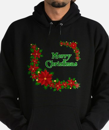 Merry Christmas Poinsettias Hoodie (dark)