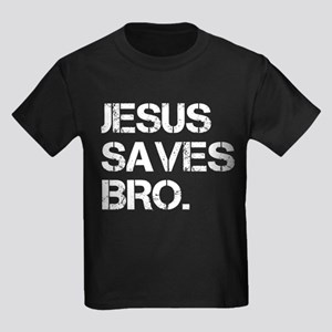 Jesus Saves Bro. Kids Dark T-Shirt